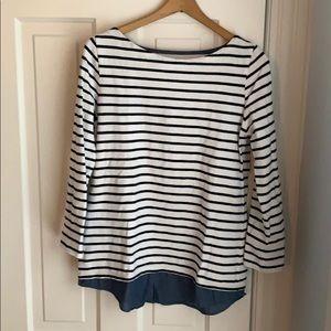 EUC Loft striped sweatshirt with chambray details